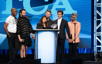 The cast of Queer Eye—Karamo Brown, Jonathan Van Ness, Bobby Berk, Antoni Porowski, and Tan France—accept their 2019 TCA Award, with executive producer Rachelle Mendez at the podium