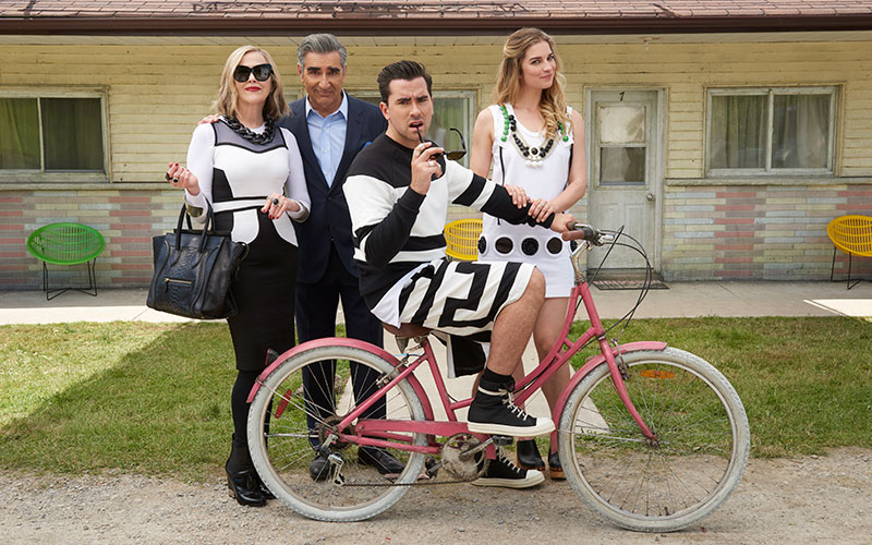 The Rose family on the sitcom Schitt's Creek, starring Catherine O'Hara as Moira Rose, Eugene Levy as Johnny Rose, Dan Levy as David Rose, and Annie Murphy as Alexis Rose