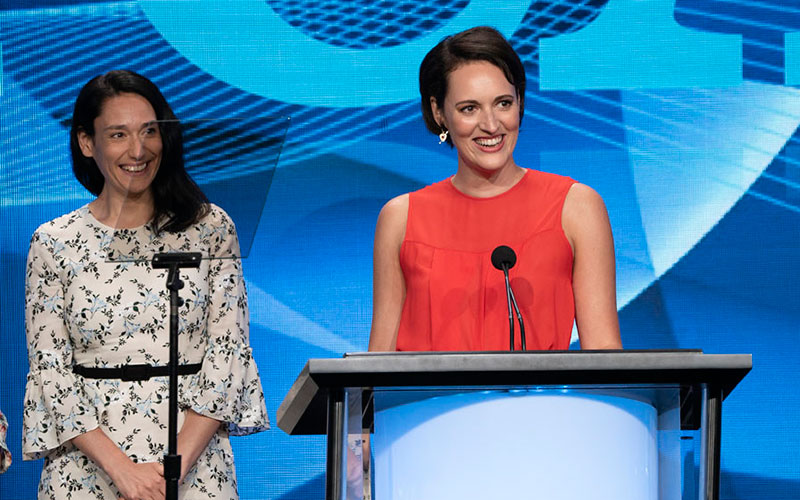 Fleabag star Sian Clifford and writer/star Phoebe Waller-Bridge accepting a TCA Award in 2019