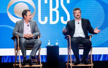 Thom Sherman, CBS Entertainment's senior executive vice president of programming, and Kelly Kahl, the president of CBS Entertainment, at the Television Critics Association press tour on Aug. 1, 2019