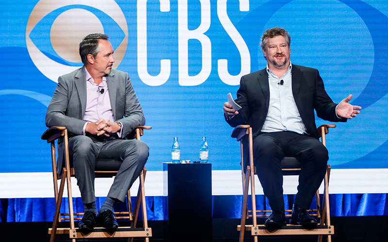 Thom Sherman, CBS Entertainment's senior executive vice president of programming, and Kelly Kahl, the president of CBS Entertainment, at the Television Critics Association press tour on Aug. 1, 2019