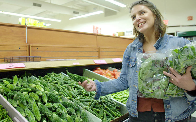 Vivian Howard shopping at an Indian market in Cary, North Carolina, on her new show South by Somewhere
