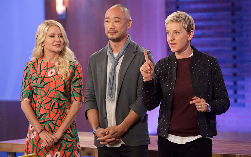 Ellen's Design Challenge season 2 judges Christiane Lemieux and Cliff Fong, with Ellen DeGeneres, who's bringing a version of the show back on HBO Max.