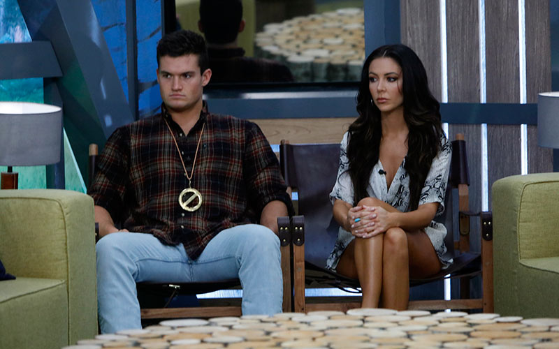 Jackson Michie and Holly Allen, Big Brother 21's final two, during an earlier live eviction episode.