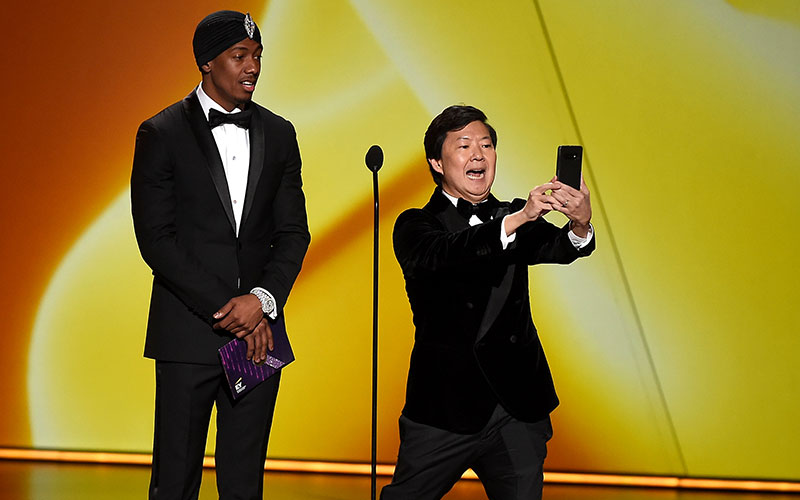 Nick Cannon and Ken Jeong doing a Tik Tok bit during the 71st Emmys