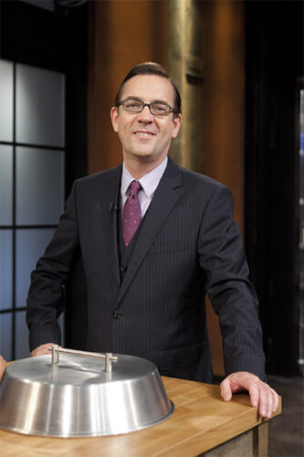 Ted Allen with Chopped's cloche, which was part of the original idea for the series.