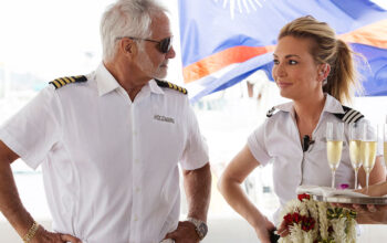 Captain Lee Rosbach and Kate Chastain during season 6 of Below Deck. Both are back for Below Deck season 7