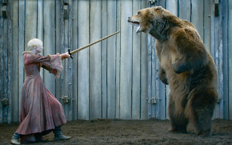 "Bart the Bear 2 in Game of Thrones season 3, episode 7, ""The Bear and the Maiden Fair"""