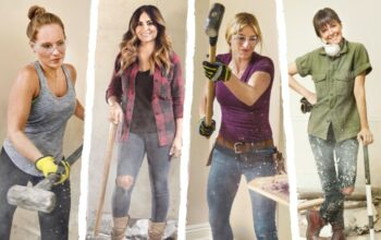 Competing on HGTV's Rock the Block: Good Bones' Mina Starsiak Hawk, Windy City Rehab's Alison Victoria, Hidden Potential's Jasmine Roth, and Restored by the Fords' Leanne Ford