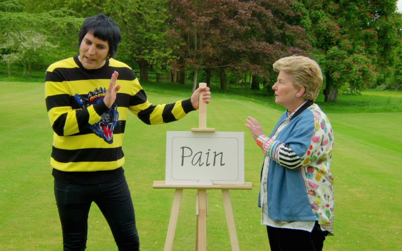 Noel Fielding and Sandi Toksvig during The Great British Baking Show season 9, or collection 6, as Netflix calls it.