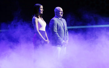 Padma Lakshmi and Tom Colicchio during the Top Chef: Kentucky finale