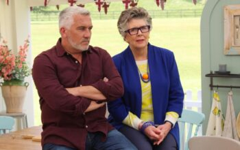 Great British Baking Show judges Paul Hollywood and Prue Leith during season 10