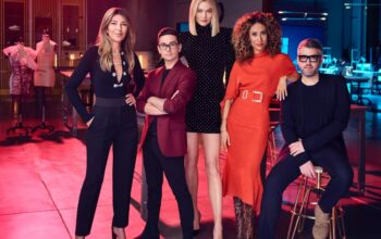 Project Runway season 18 judge Nina Garcia, mentor Christian Siriano, host Karlie Kloss, and judges Elaine Welteroth and Brandon Maxwell