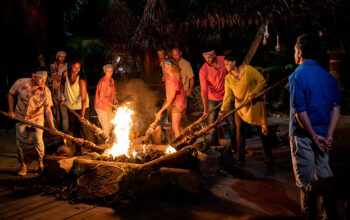 This moment from the Survivor Island of the Idols premiere, the Lairo tribe at Tribal Council, was spoiled in a mid-episode promo.