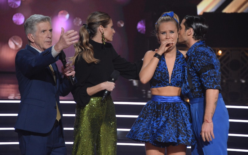 Dancing with the Star hosts Tom Bergeron and Erin Andrews, with eliminated couple Sailor Brinkley-Cook and Val Chmerkovsky