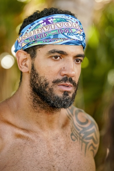 Aaron Meredith during the Survivor: Island of the Idols merge episodes