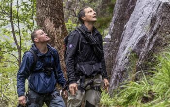 Channing Tatum and Bear Grylls in Norway on Running Wild with Bear Grylls season 5, which has moved to National Geographic Channel