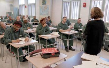 Bard Prison Initiative (BPI) students take an advanced-level seminar class at Eastern New York Correctional Facility