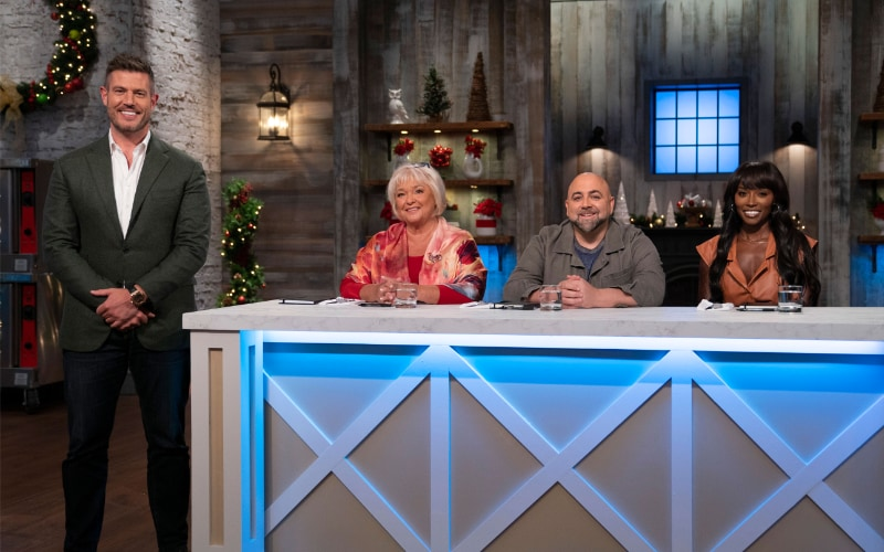 Holiday Baking Championship 2019 host Jesse Palmer with judges Nancy Fuller, Duff Goldman, and Lorraine Pascale