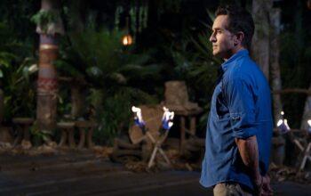 Survivor host Jeff Probst on the Survivor: Island of the Idols Tribal Council set. He'll also host Survivor 40: Winners at War