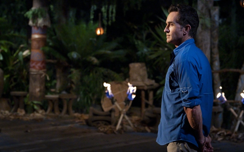 Survivor host Jeff Probst on the Survivor: Island of the Idols Tribal Council set. He'll also host Survivor 40: Winners at War