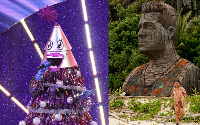 The Tree on The Masked Singer episode 2 (left) and a statue that's supposed to look like Boston Rob Mariano (right), with Survivor Island of the Idols cast member Vince Moua walking in the foreground