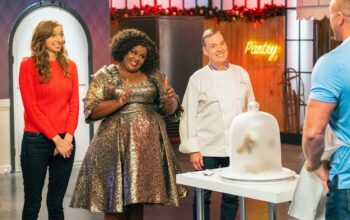 Lauren Lapkus, Nicole Byer, and Jacques Torres on Nailed It! Holiday season 2
