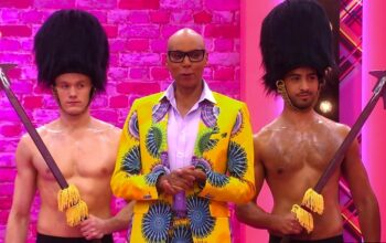 RuPaul and two members of RuPaul's Drag Race's Brit Crew
