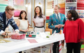 Wrap Battle guest judge Shiho Masuda and judges Wanda Wen, Carson Kressley, and Sheryl Underwood watch contestant Eddie Ross
