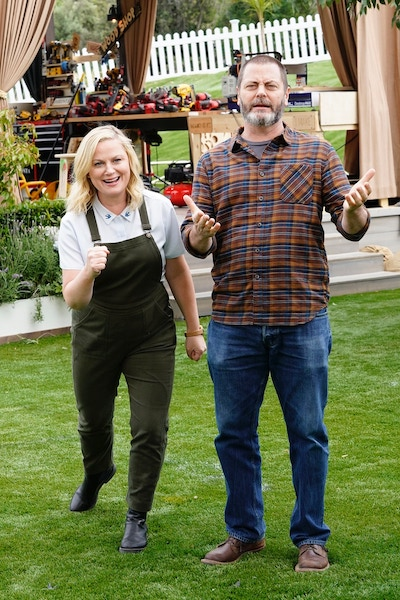 Amy Poehler and Nick Offerman during Making It season 2's seventh episode