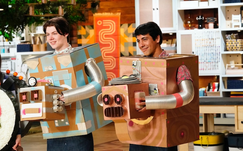 Eagan Tilghman and Matt Ortiz in the robot costumes they made on episode 3 of Making It season 2