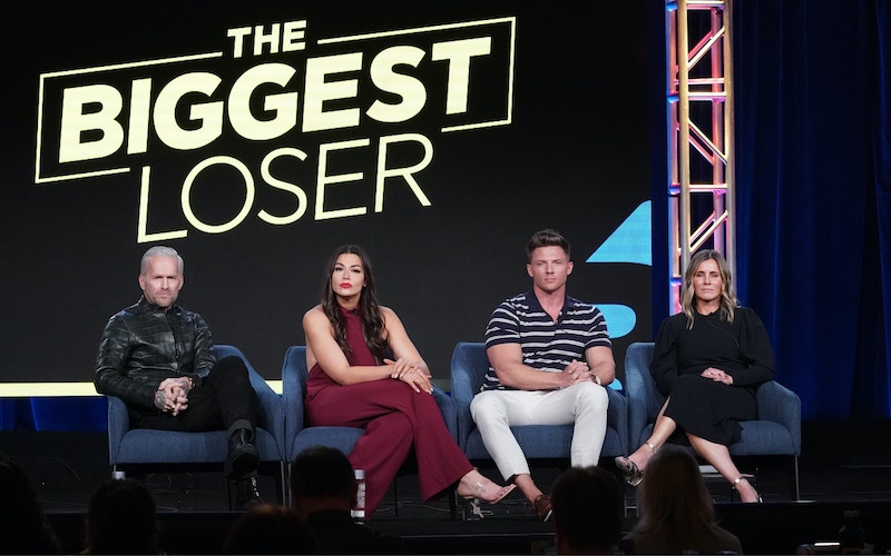 The Biggest Loser host Bob Harper, trainers Erica Lugo and Steve Cook, and USA executive Heather Olander at the Television Critics Association's 2020 winter press tour