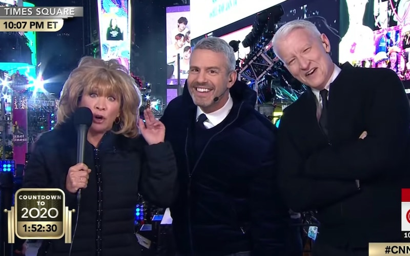 Cheri Oteri (as Barbara Walters) with Andy Cohen and Anderson Cooper on CNN's New Year's Eve broadcast