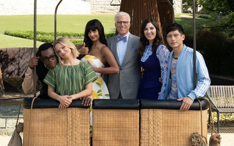 The Good Place cast: William Jackson Harper as Chidi, Kristin Bell as Eleanor, Jameela Jamil as Tahani, Ted Danson as Michael, D'Arcy Carden as Janet, and Manny Jacinto as Jason