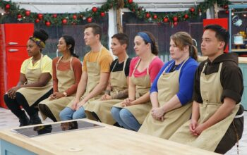 Great American Baking Show season 5 contestants Bianca, Sarita, Alex, Dana, Marissa, Tanya, and Brother Andrew during the second pair of episodes.