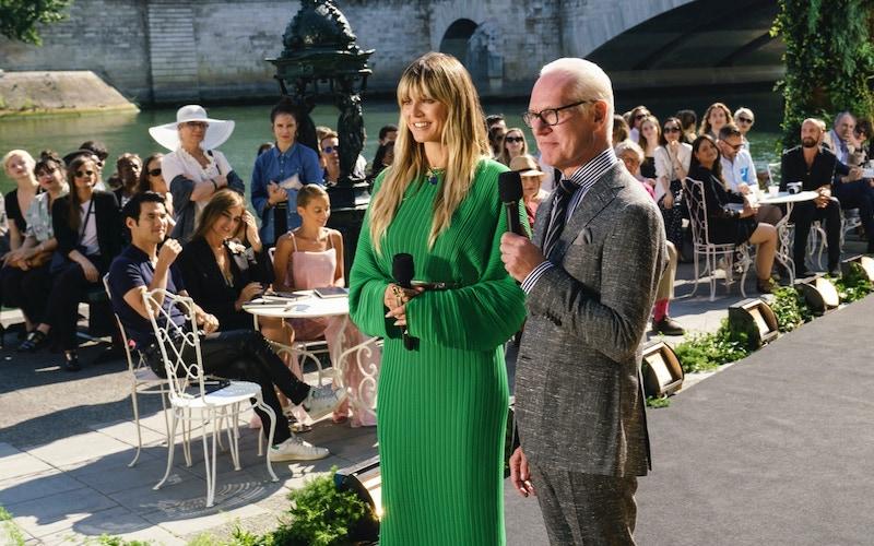 Heidi Klum and Tim Gunn in Paris on Making the Cut
