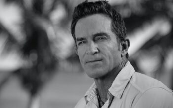 Jeff Probst's black-and-white portrait for Survivor Winners at War