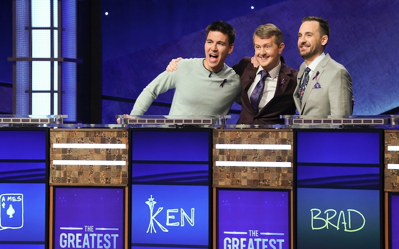 James Holzhauer, Ken Jennings, and Brad Rutter during the Jeopardy! Greatest of All Time tournament's first episode