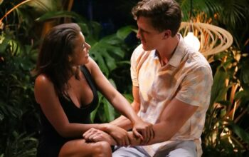 Morgan Lolar and Evan Smith during Temptation Island's final bonfire, when they decided to leave the island together