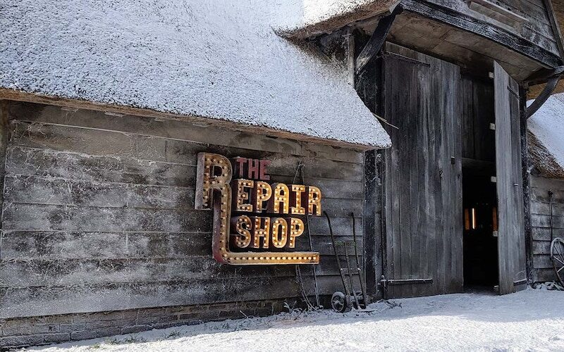 The Repair Shop in winter, for 2019's The Repair Shop at Christmas special