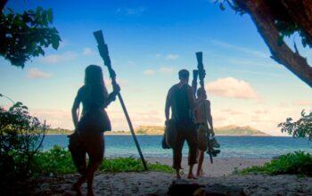 Survivor season 39's final three, Noura Salman, Tommy Sheehan and Dean Kowalski, walking to the final Tribal Council.