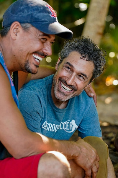 """""""Boston Rob"""" Mariano and Ethan Zohn during Survivor: Winners at War's third episode, """"Out for Blood."""""""