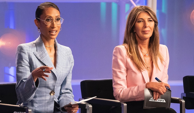 "Elaine Welteroth and Nina Garcia critique designers' work during Project Runway 18's ""Suit Yourself"" episode"