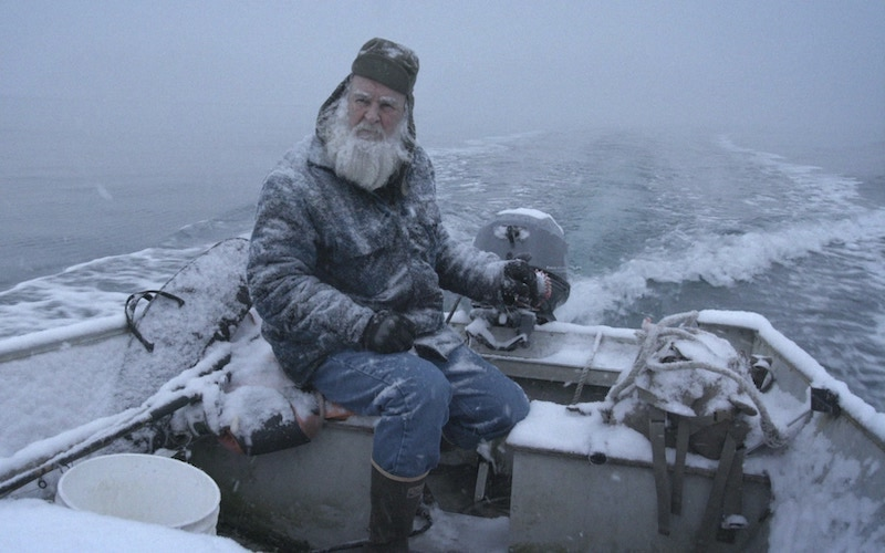 Gary Muelberger on his snow-covered skiff on Life Below Zero: Port Protection