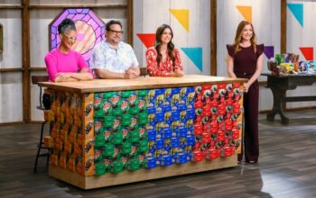 The judges on Food Network's Girl Scout Cookie Championship and host Alyson Hannigan (right)