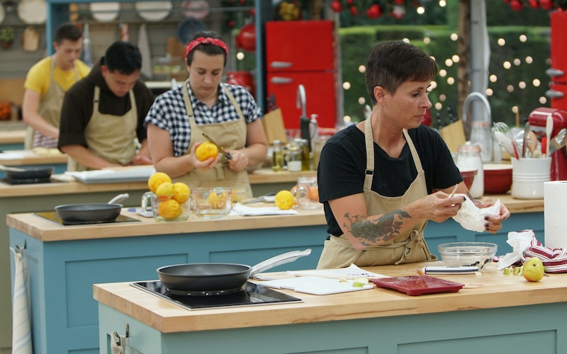 Contestants on The Great American Baking Show: Holiday Edition bake during the Dec. 12, 2019, premiere