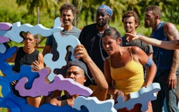Denise Stapley, Ethan Zohn, Boston Rob Mariano, Jeremy Collins, Michele Fitzgerald, Adam Klein, and Ben Driebergen during the Survivor: Winners at War episode 3 immunity challenge