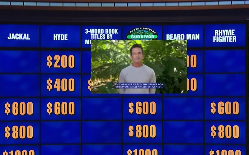 Jeff Probst giving an answer on Jeopardy!