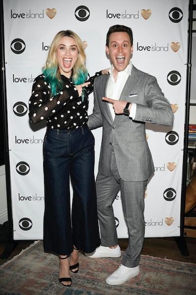 Love Island host Arielle Vandenberg and narrator Matthew Hoffman at a CBS event in 2019
