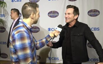 Rob Cesternino interviews Jeff Probst at the Survivor: Winners at War premiere